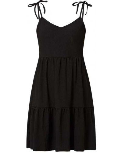 Sukienka rozkloszowana z falbanami - czarna Tom Tailor Denim