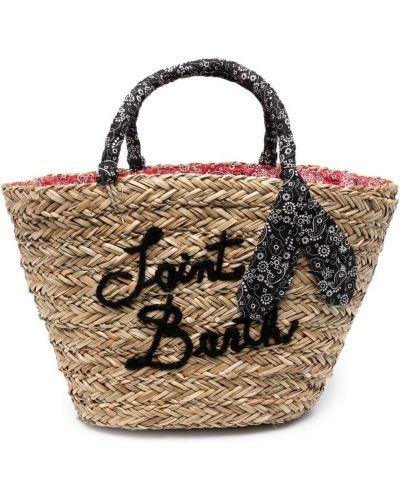 Соломенная пляжная сумка-тоут с вышивкой Mc2 Saint Barth