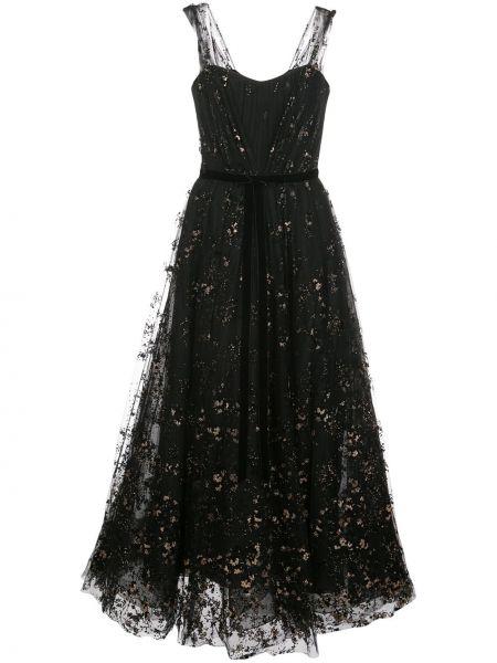 Платье миди на молнии черное Marchesa Notte