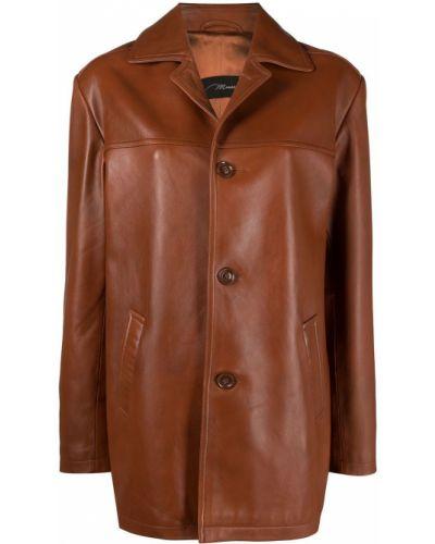 Коричневый кожаный удлиненный пиджак оверсайз Manokhi
