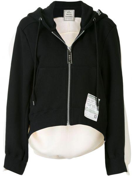 Хлопковая с рукавами черная куртка с капюшоном на молнии Maison Mihara Yasuhiro