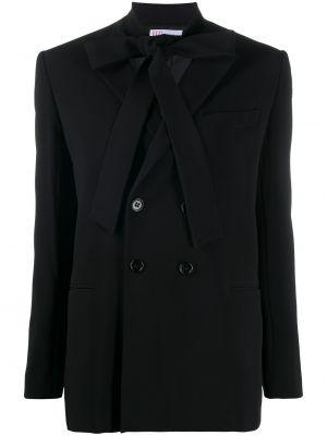 Черный удлиненный пиджак двубортный с карманами Redvalentino