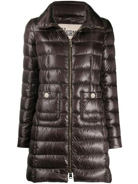 Brązowy puchaty pikowana płaszcz z kieszeniami z gęsim puchem Herno