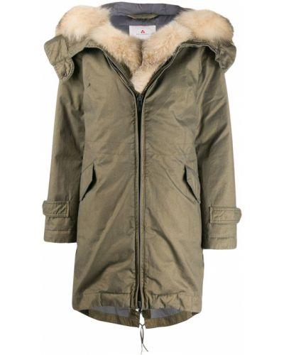 Пальто с капюшоном зеленое био пух Peuterey