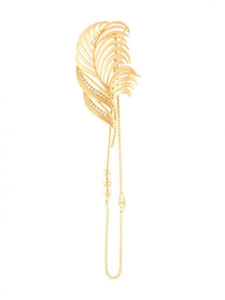 Żółta złota broszka z printem Dolce And Gabbana