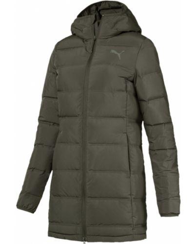 Утепленная куртка на молнии зеленая Puma