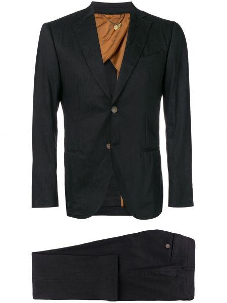 Черный костюмный костюм на пуговицах с подкладкой Maurizio Miri