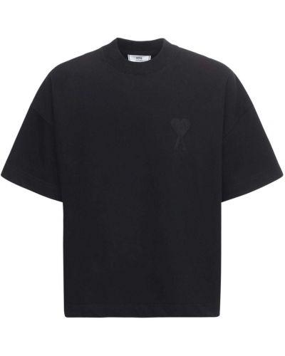 Bawełna czarny bawełna koszula z haftem Ami Alexandre Mattiussi