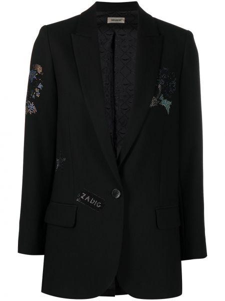 Черный удлиненный пиджак с длинными рукавами с карманами Zadig&voltaire