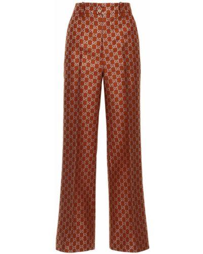 Brązowy rozbłysnął wełniany spodnie z paskiem Gucci