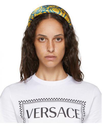 Jedwab niebieski opaska na głowę Versace