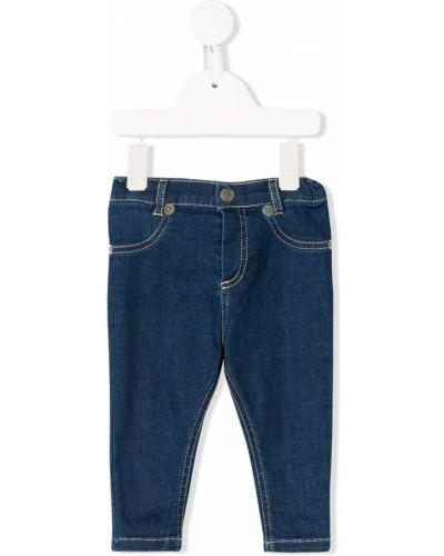 Niebieskie jeansy bawełniane z paskiem Kenzo Kids