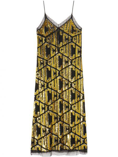 Золотистое желтое платье с пайетками из фатина Gucci