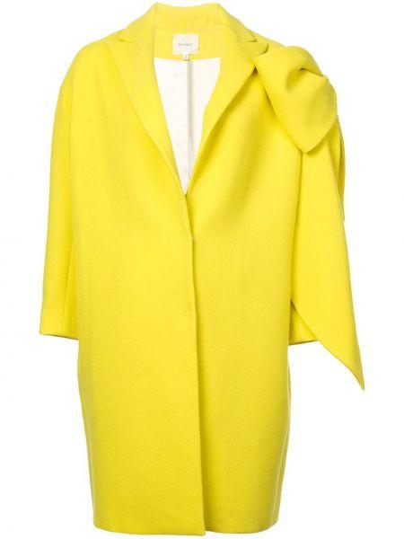 Желтое шерстяное пальто с капюшоном Delpozo