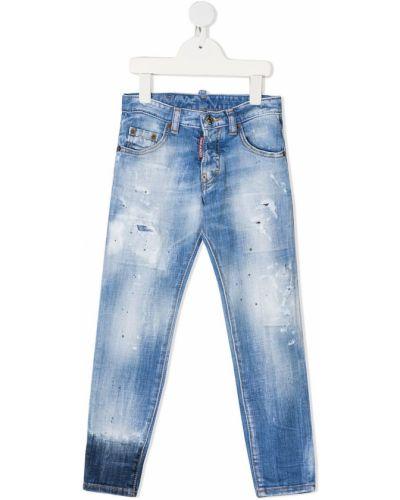 Кожаные прямые синие джинсы Dsquared2 Kids