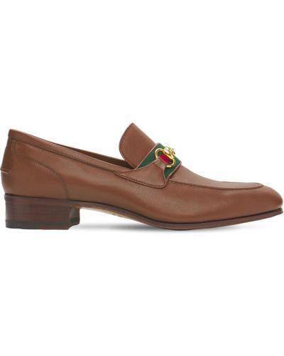 Brązowe loafers skorzane Gucci