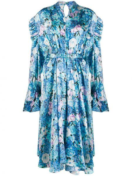 Платье миди на пуговицах с цветочным принтом Balenciaga