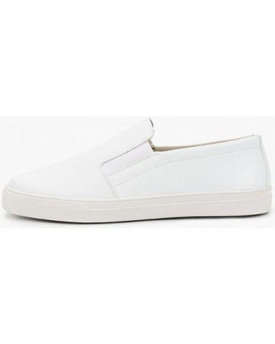 Белые кожаные слипоны Goodzone