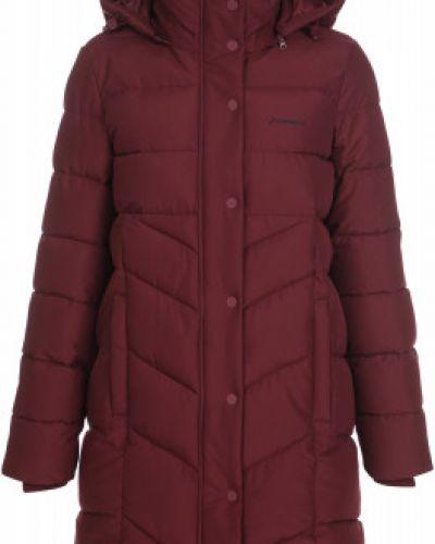 Утепленная красная длинная куртка на молнии Demix