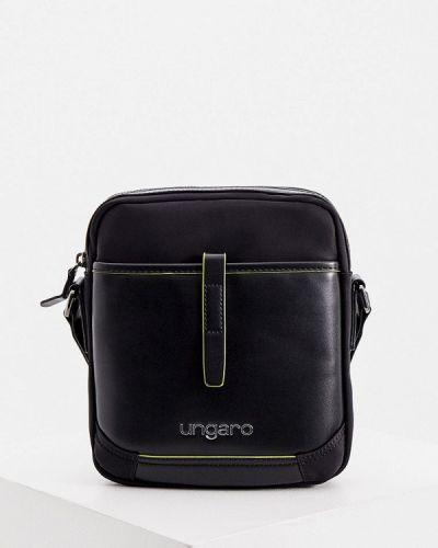 Кожаная черная сумка через плечо Ungaro