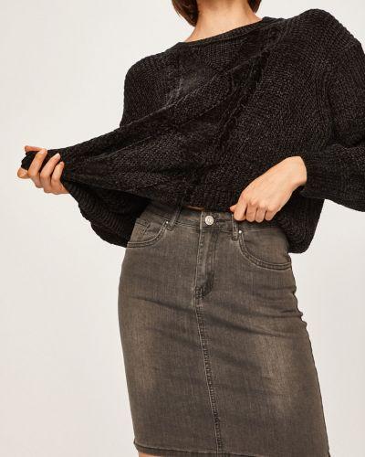 Серая прямая джинсовая юбка с поясом на пуговицах Answear