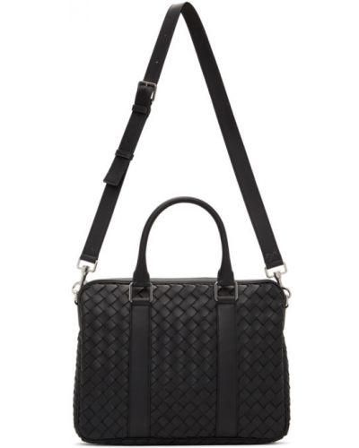 Черный портфель с карманами с пряжкой Bottega Veneta