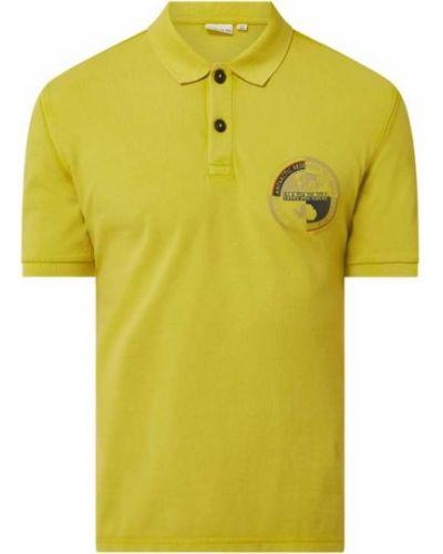 Żółty t-shirt bawełniany z printem Napapijri