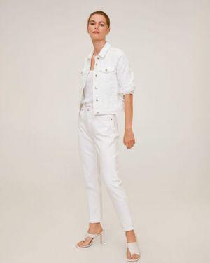 Белая классическая джинсовая куртка с манжетами с воротником Mango