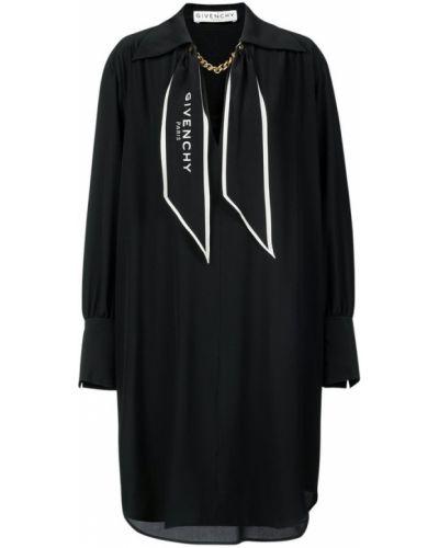 Złota czarna sukienka midi z długimi rękawami Givenchy