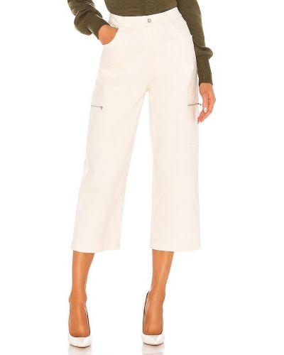 Bawełna biały klasyczne spodnie z kieszeniami z zamkiem błyskawicznym Line & Dot