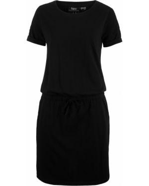 Платье с поясом со вставками с вырезом Bonprix