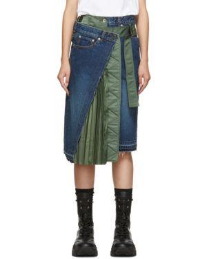Плиссированная юбка джинсовая асимметричная Sacai