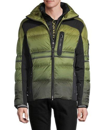 Пуховая зеленая длинная куртка с капюшоном Bogner