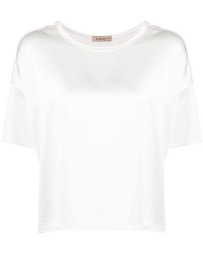 Biała bluzka krótki rękaw asymetryczna Blanca Vita