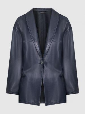 Кожаный синий пиджак Armani