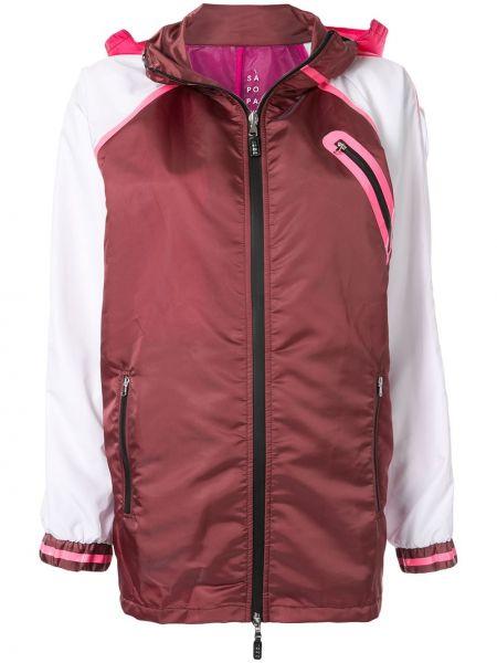 Красная прямая куртка с капюшоном на молнии в рубчик Sàpopa