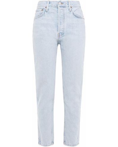 Niebieskie jeansy bawełniane z paskiem Re/done