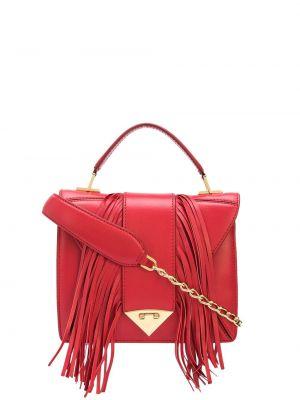 Красная сумка на цепочке квадратная с кисточками металлическая Tyler Ellis