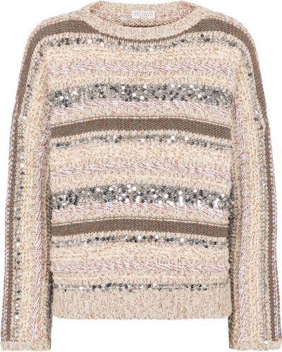 Хлопковый бежевый свитер в полоску Brunello Cucinelli