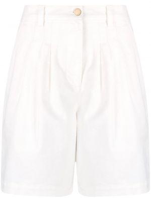 Хлопковые белые с завышенной талией джинсовые шорты Alberta Ferretti