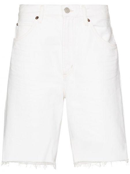 Bawełna z wysokim stanem niebieski jeansy na wysokości z kieszeniami Agolde