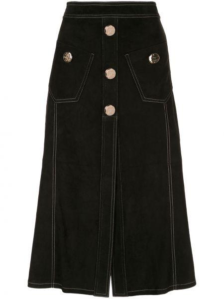 Джинсовая юбка на пуговицах с завышенной талией Alexis