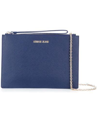 Синий клатч на молнии Armani Jeans