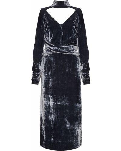 Бархатное серое с рукавами платье миди Laroom