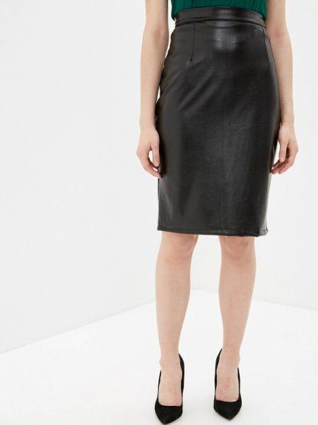 Кожаная юбка черная весенняя Marissimo