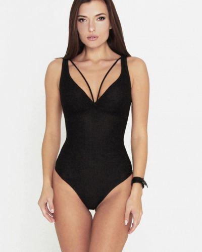 Плюшевый черный слитный купальник Love's Swimwear