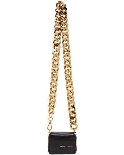 Черный кожаный кошелек с карманами из натуральной кожи со шлицей Kara