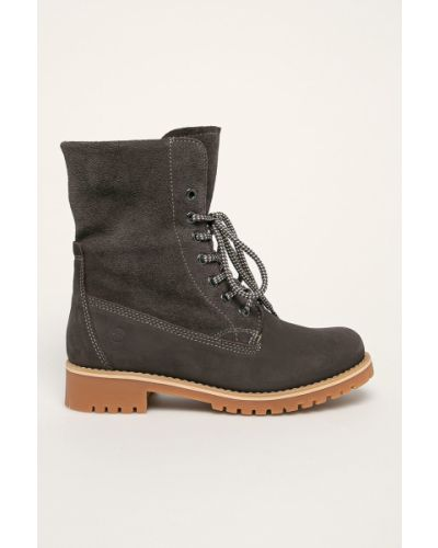 Ботинки на каблуке на шнуровке замшевые Tamaris