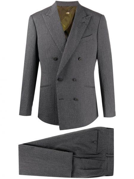 Серый костюмный костюм двубортный на пуговицах Maurizio Miri