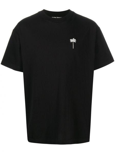 Bawełna prosto czarny koszula krótkie z krótkim rękawem z haftem Palm Angels